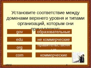 Установите соответствие между доменами верхнего уровня и типами организаций,