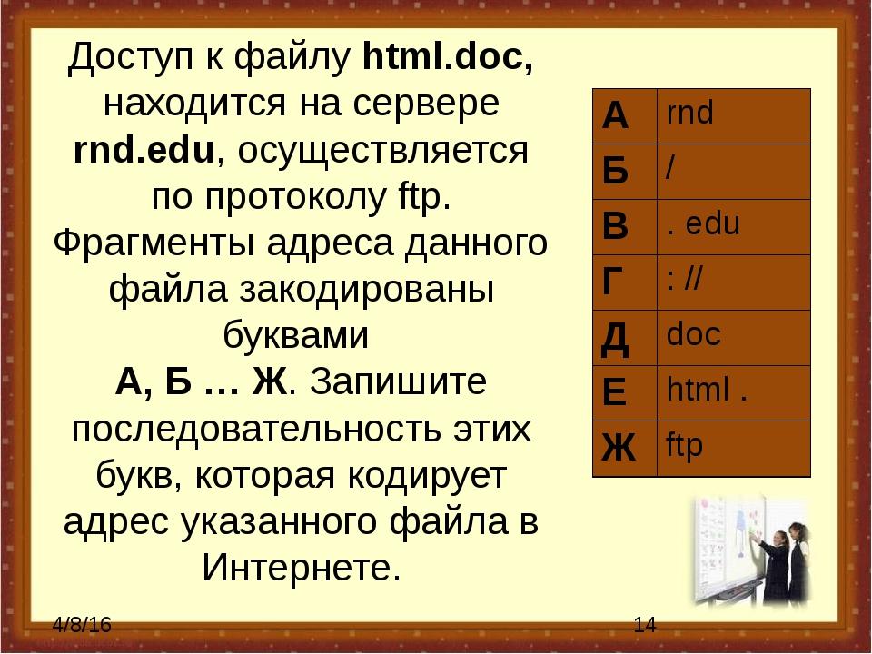 Доступ к файлу html.doc, находится на сервере rnd.edu, осуществляется по прот...