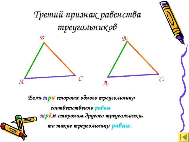 Третий признак равенства треугольников А В С А1 В1 С1 Если три стороны одного...