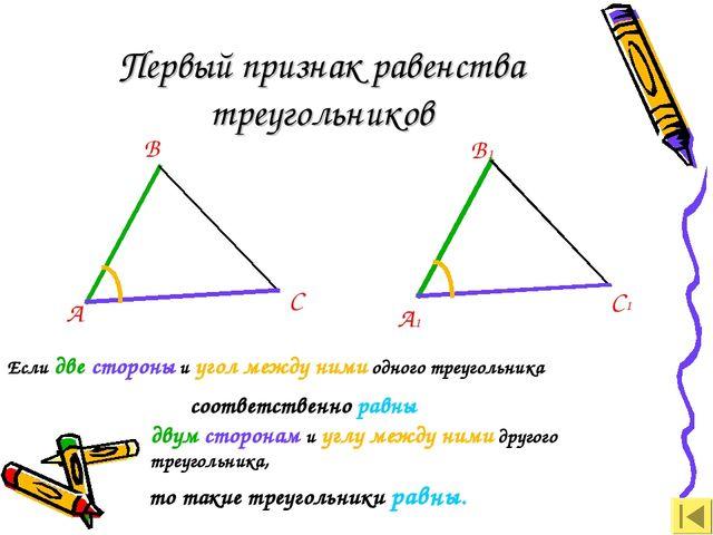 Первый признак равенства треугольников А В С А1 В1 С1 Если две стороны и угол...
