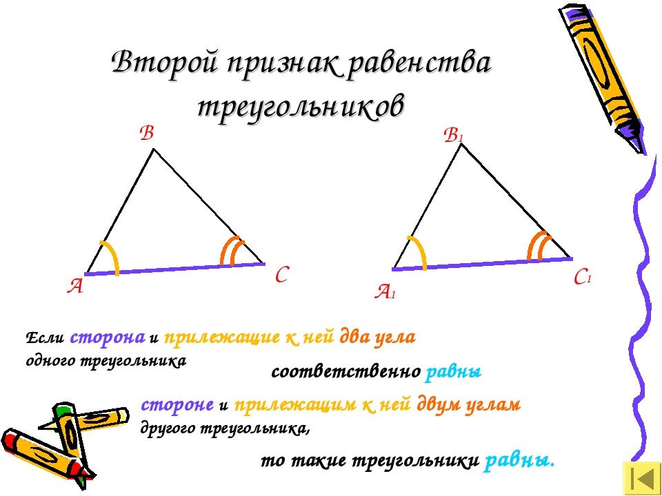 Второй признак равенства треугольников А В С А1 В1 С1 Если сторона и прилежащ...