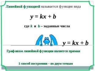 Линейной функцией называется функция вида у = kx + b где k и b – заданные чис