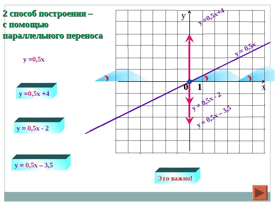 y = 0,5x y =0,5x+4 y = 0,5x - 2 y =0,5x +4 y = 0,5x - 2 y =0,5x y = 0,5x – 3,...