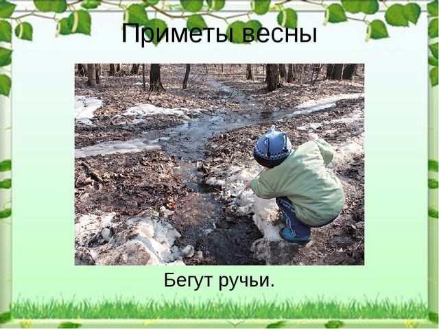 Приметы весны Бегут ручьи.