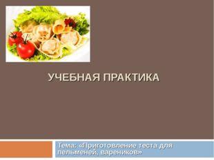 УЧЕБНАЯ ПРАКТИКА Тема: «Приготовление теста для пельменей, вареников»