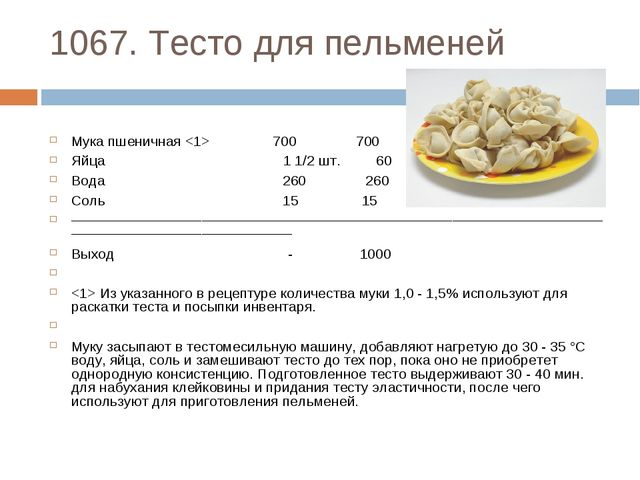 1067. Тесто для пельменей Мука пшеничная  700 700 Яйца 1 1/2 шт. 60 Вода 260...
