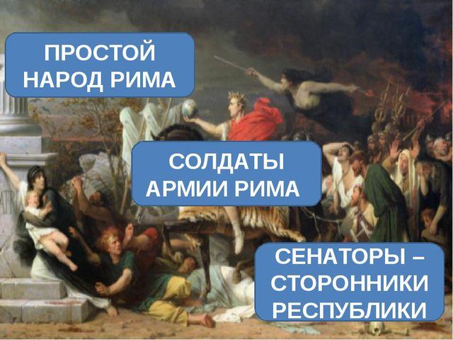 ПРОСТОЙ НАРОД РИМА СОЛДАТЫ АРМИИ РИМА СЕНАТОРЫ – СТОРОННИКИ РЕСПУБЛИКИ