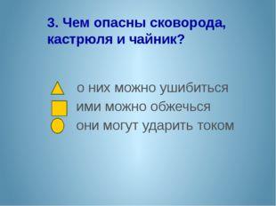 3. Чем опасны сковорода, кастрюля и чайник? о них можно ушибиться ими можно о