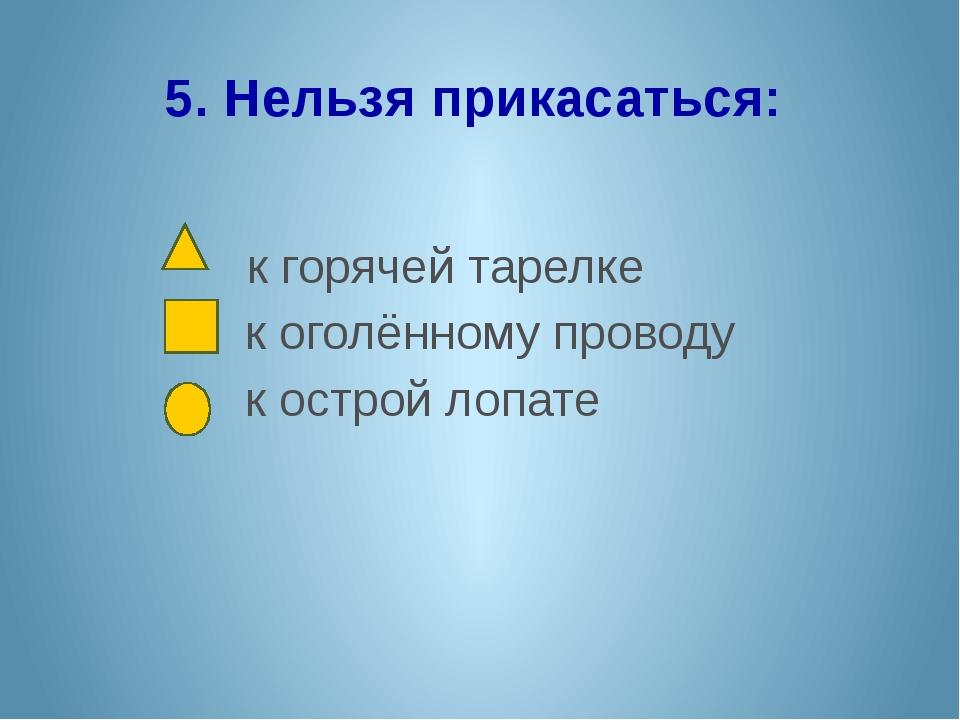 5. Нельзя прикасаться: к горячей тарелке к оголённому проводу к острой лопате