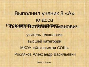 Выполнил ученик 8 «А» класса Ткачев Виталий Романович Руководитель – консуль