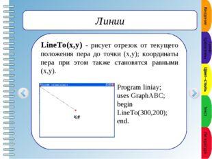 Цвет линии SetPenColor(color) - устанавливает цвет пера, задаваемый параметр