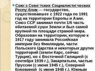 Сою́з Сове́тских Социалисти́ческих Респу́блик— государство, существовавшее с