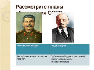 Рассмотрите планы образования СССР. АВТОНОМИЗАЦИЯФЕДЕРАЦИЯ Республики входят