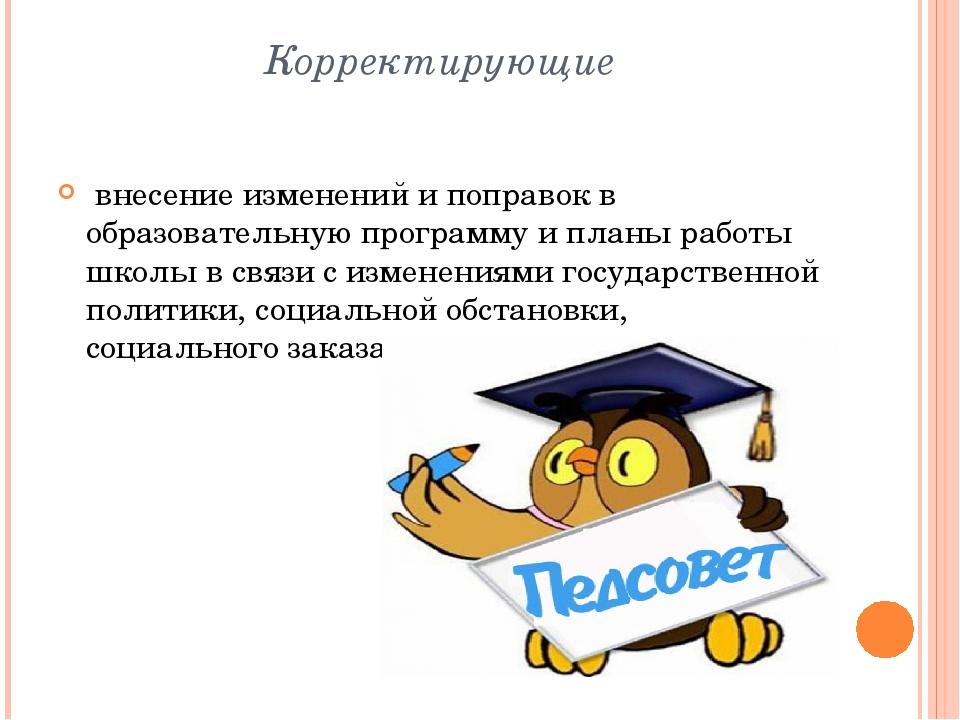 Корректирующие внесение изменений и поправок в образовательную программу и пл...