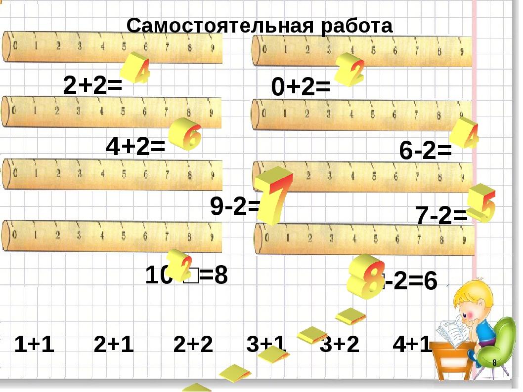 * 2+2= 0+2= 4+2= 6-2= 9-2= 7-2= 10-□=8 □-2=6 Самостоятельная работа 1+1 2+1 2...