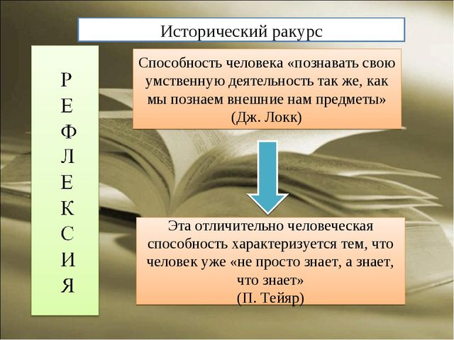 Способность человека «познавать свою умственную деятельность так же, как мы п...