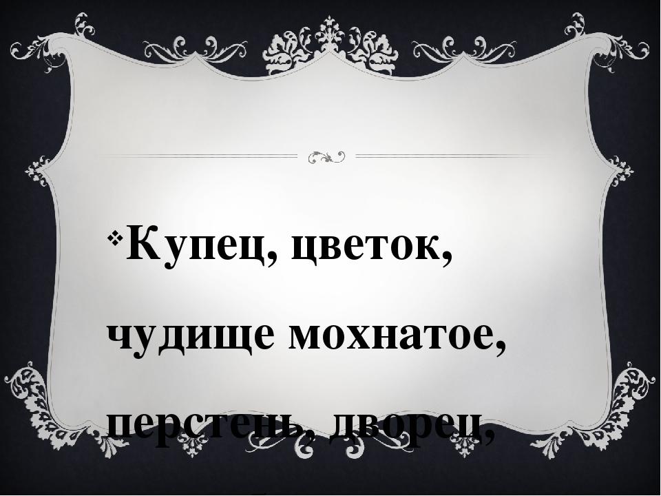 Купец, цветок, чудище мохнатое, перстень, дворец, волшебница