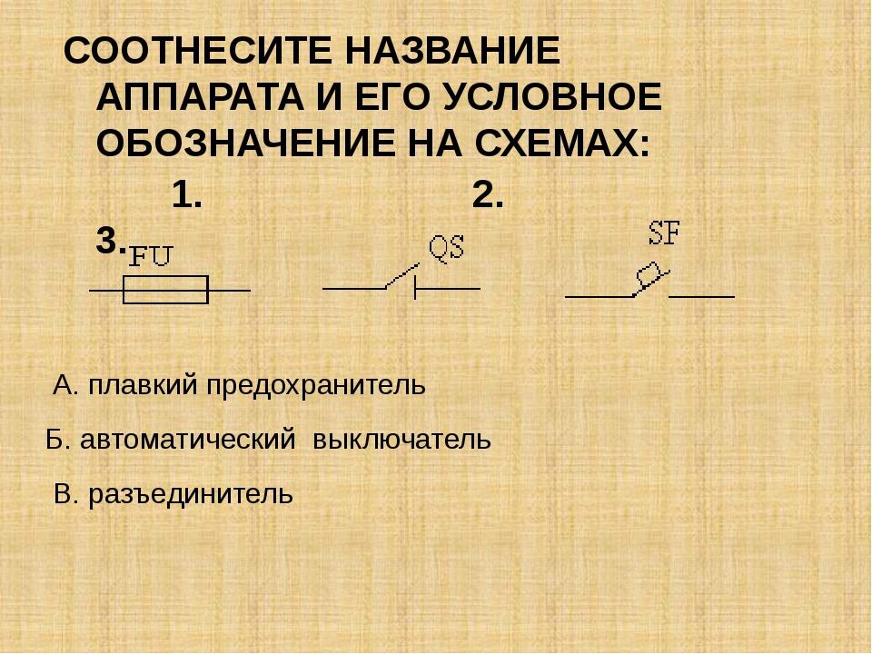 Б. автоматический выключатель В. разъединитель А. плавкий предохранитель СОО...