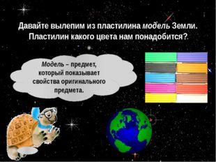 Давайте вылепим из пластилина модель Земли. Пластилин какого цвета нам понадо