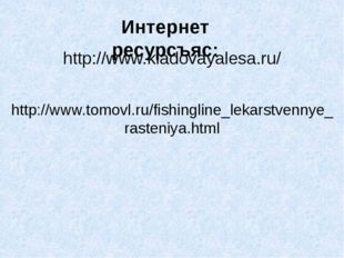 Интернет ресурсъяс: http://www.kladovayalesa.ru/ http://www.tomovl.ru/fishing