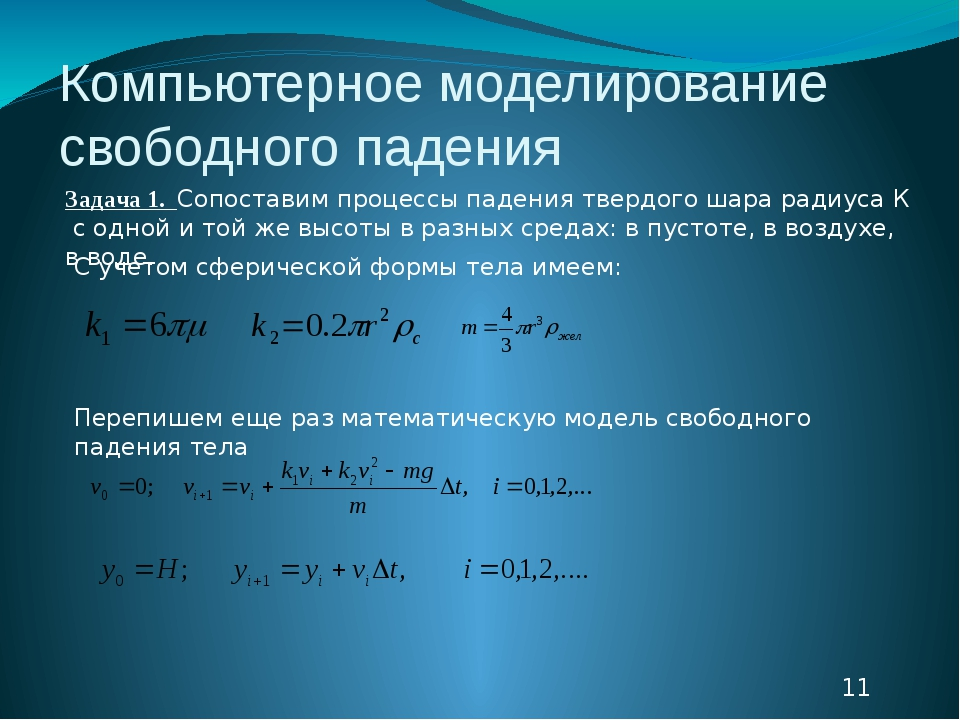 Компьютерное моделирование свободного падения Задача 1. Сопоставим процессы п...