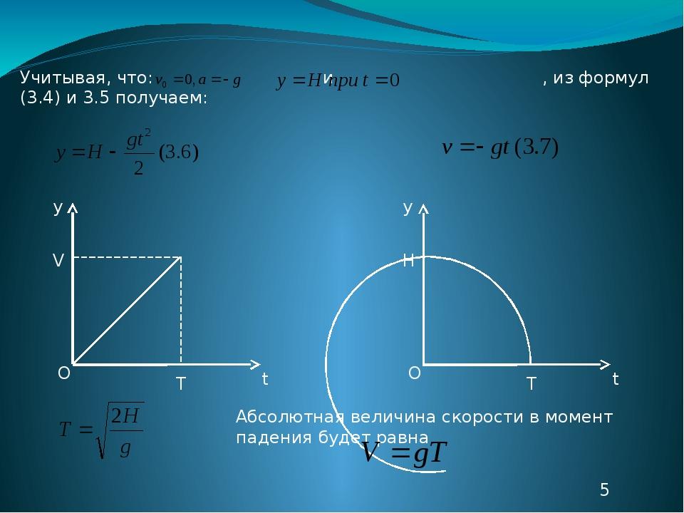 Учитывая, что: и , из формул (3.4) и 3.5 получаем: О V T y t О H T y t Абсолю...