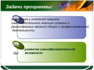 Задачи программы: развитие самообразовательной активности LOGO