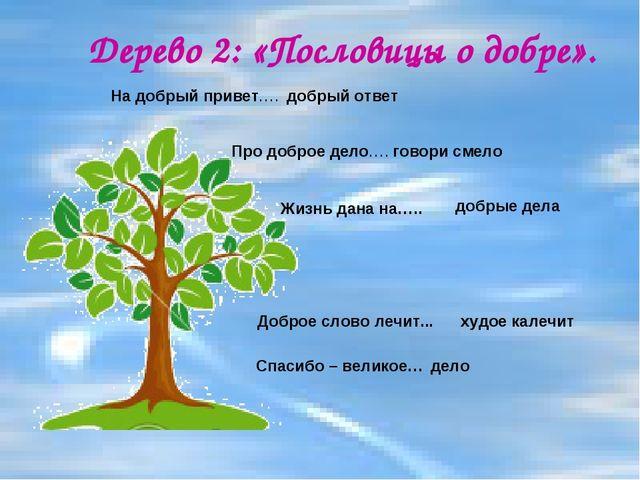 Дерево 2: «Пословицы о добре». На добрый привет…. Спасибо – великое… Про добр...