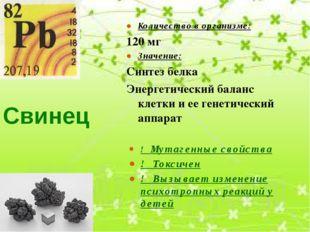 Свинец Количество в организме: 120 мг Значение: Синтез белка Энергетический б
