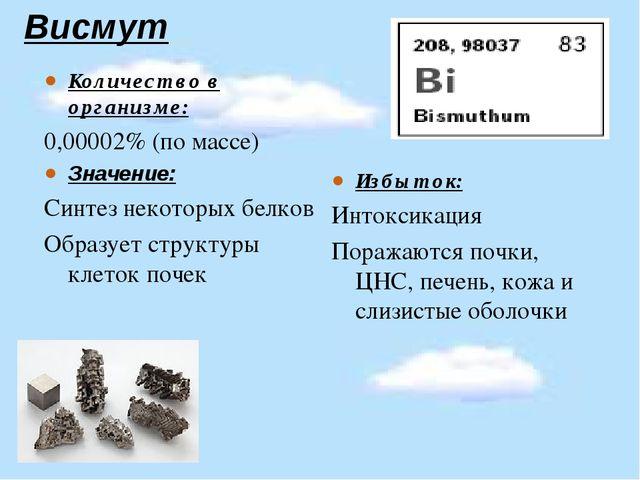 Висмут Количество в организме: 0,00002% (по массе) Значение: Синтез некоторы...