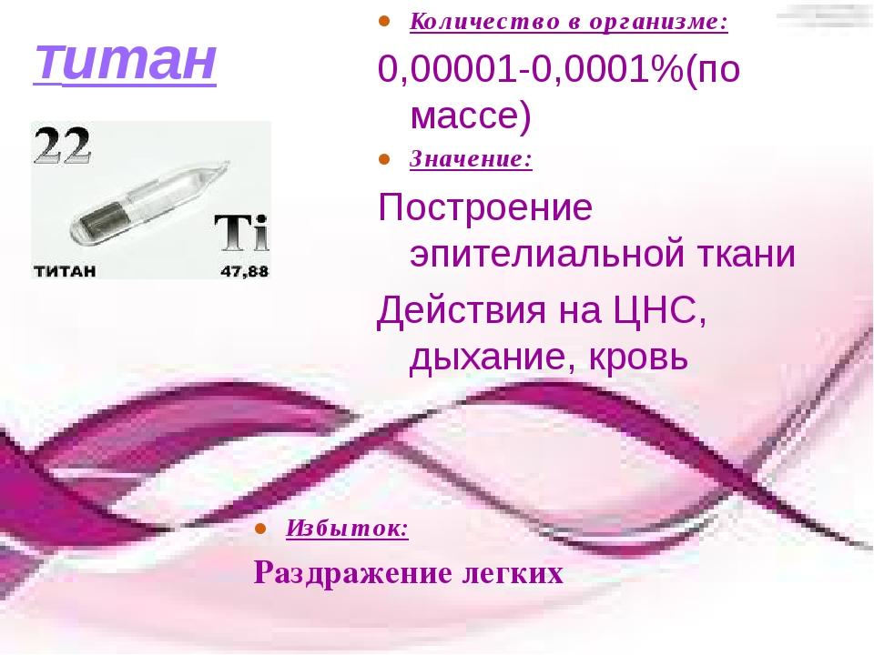 Титан Количество в организме: 0,00001-0,0001%(по массе) Значение: Построение...
