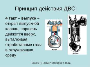 Принцип действия ДВС 4 такт – выпуск – открыт выпускной клапан, поршень движе
