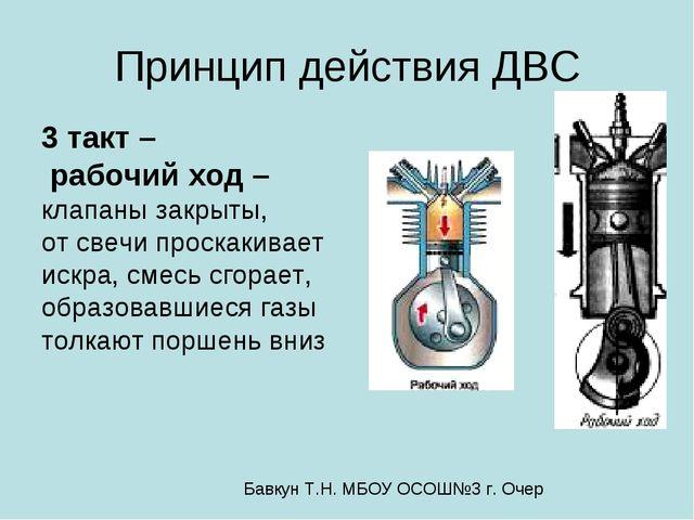 Принцип действия ДВС 3 такт – рабочий ход – клапаны закрыты, от свечи проскак...