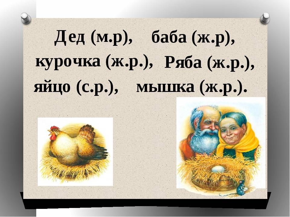 Дед (м.р), баба (ж.р), курочка (ж.р.), Ряба (ж.р.), яйцо (с.р.), мышка (ж.р.).