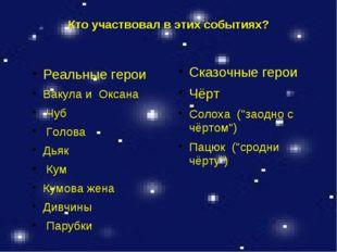 Кто участвовал в этих событиях? Реальные герои Вакула и Оксана Чуб Голова Дья