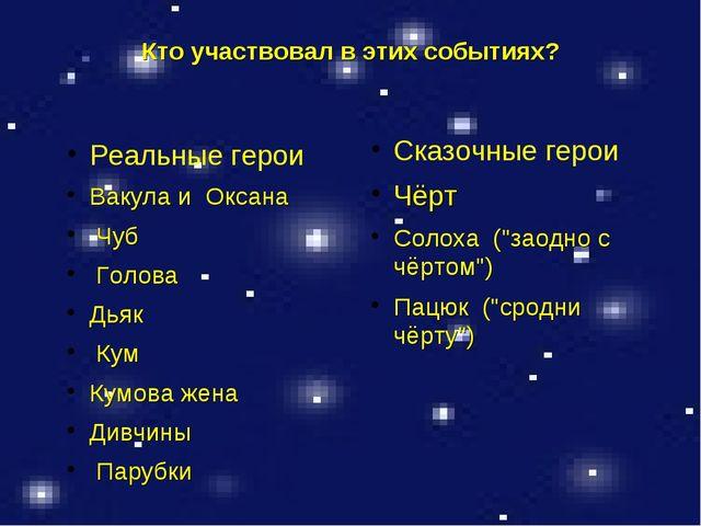 Кто участвовал в этих событиях? Реальные герои Вакула и Оксана Чуб Голова Дья...