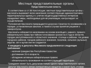 Местные представительные органы Представительная власть В соответствии со ст.