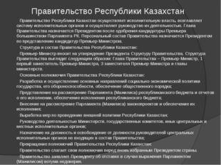 Правительство Республики Казахстан Правительство Республики Казахстан осущест