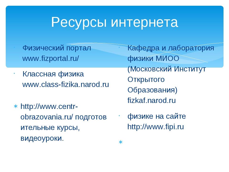 Ресурсы интернета Физический портал www.fizportal.ru/ Классная физика www.cl...