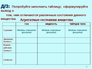 Д/З: Попробуйте заполнить таблицу; сформулируйте вывод о том, чем отличаются