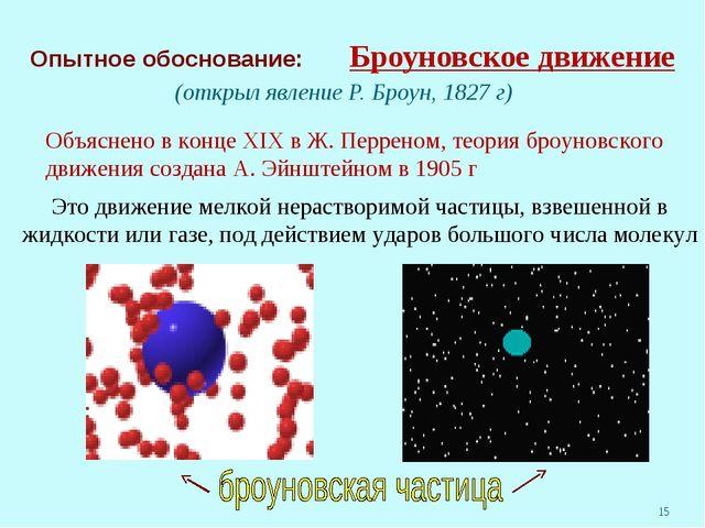 Опытное обоснование: Броуновское движение (открыл явление Р. Броун, 1827 г)...