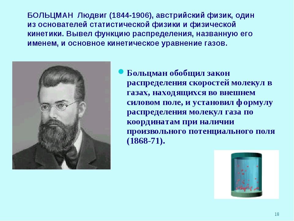 * БОЛЬЦМАН Людвиг (1844-1906), австрийский физик, один из основателей статист...