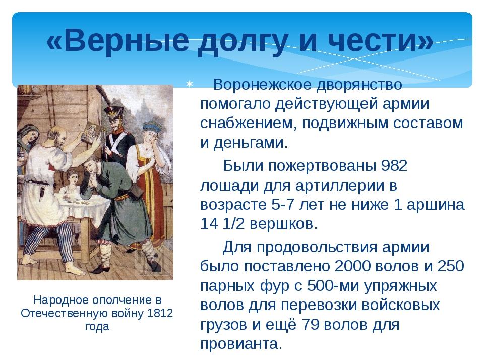 Народное ополчение в Отечественную войну 1812 года «Верные долгу и чести» Во...