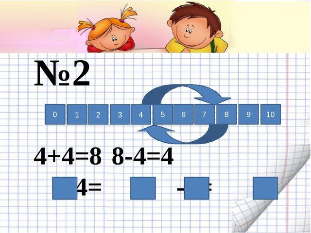 №2 4+4=88-4=4 +4= -4= 0 1 2 3 4 5 6 7 8 9 10
