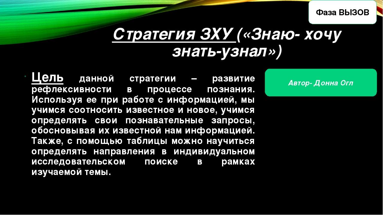 Стратегия ЗХУ («Знаю- хочу знать-узнал») Цель данной стратегии – развитие реф...