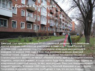 Дмитрий стал красноармейцем 223-й стрелковой дивизии, а по окончании курсов м