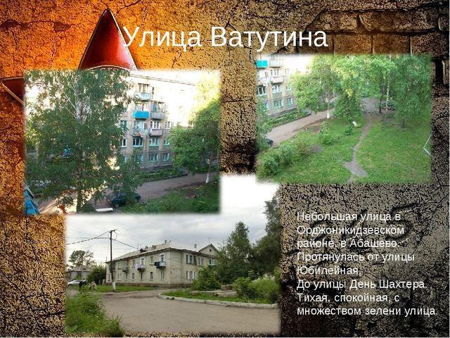 Улица Ватутина Небольшая улица в Орджоникидзевском районе, в Абашево. Протяну...
