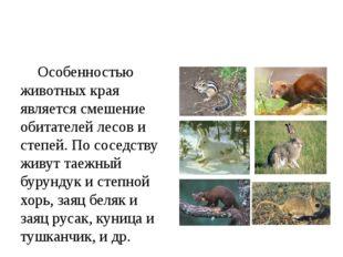 Особенностью животных края является смешение обитателей лесов и степей. По с