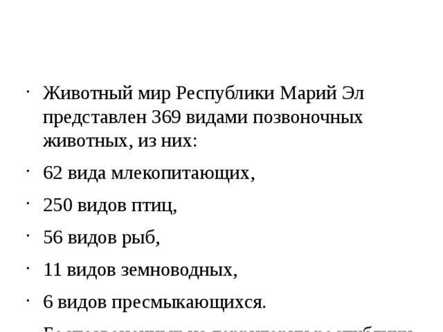 Животный мир Республики Марий Эл представлен 369 видами позвоночных животных...