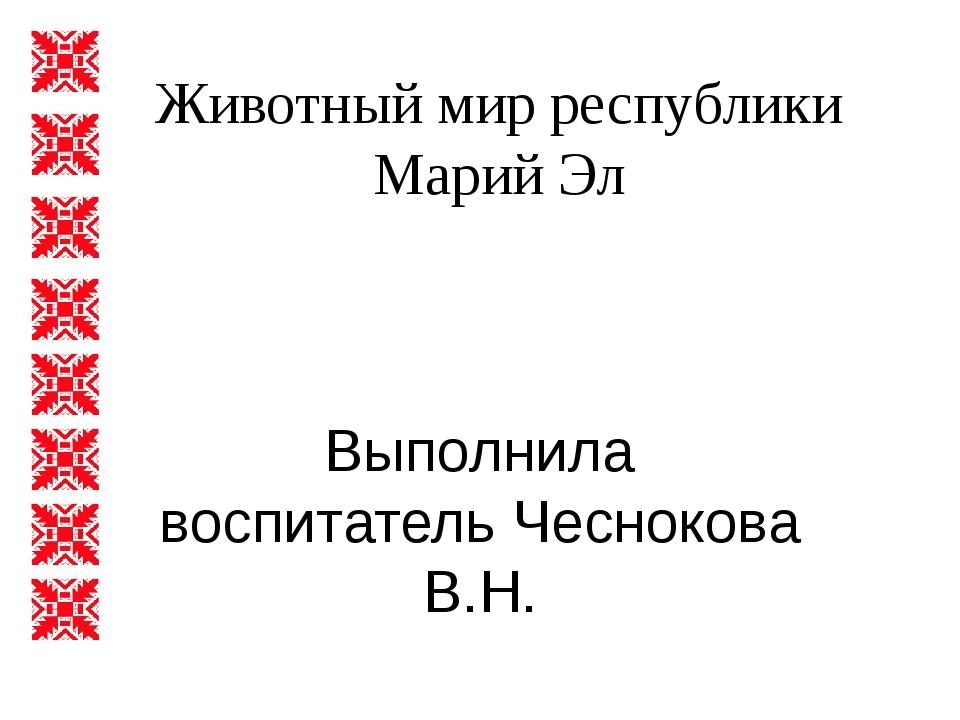 Животный мир республики Марий Эл Выполнила воспитатель Чеснокова В.Н.
